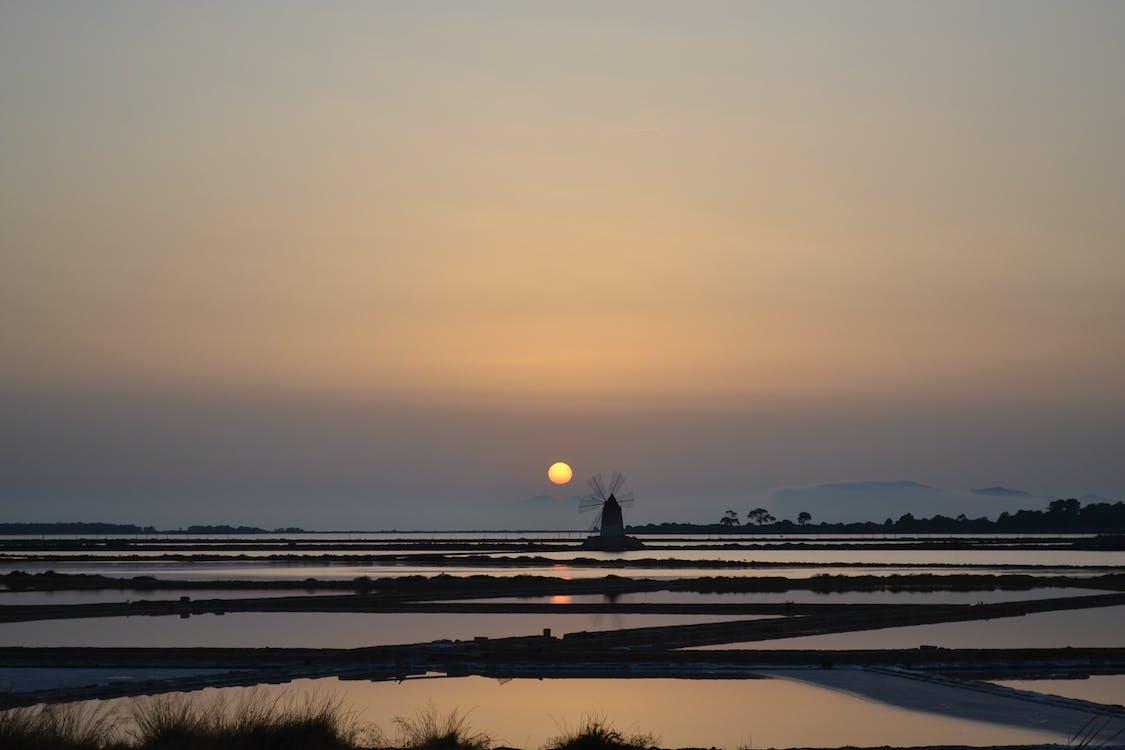 กังหันลม, ซิลูเอตต์, ดวงอาทิตย์
