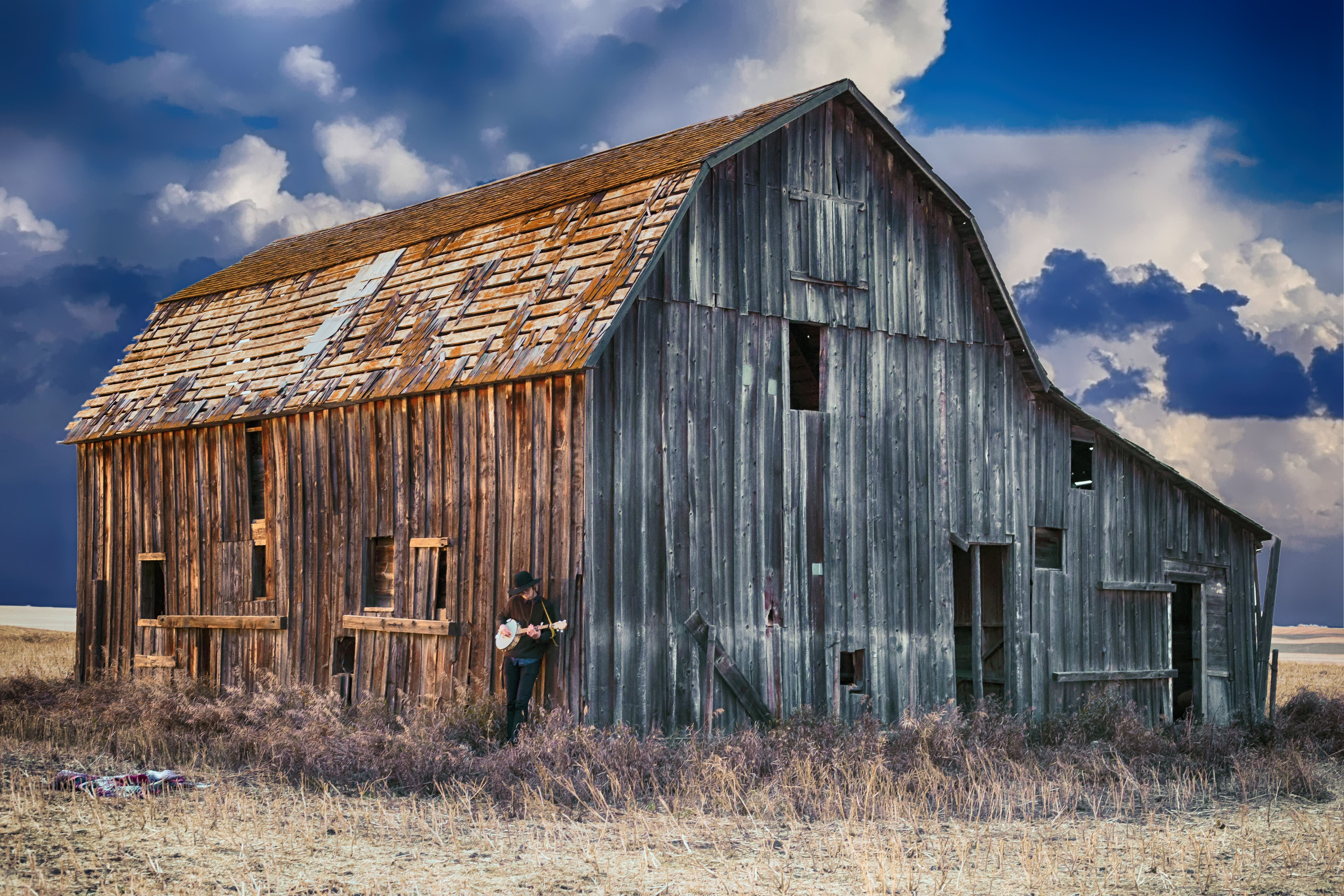 abandoned, cabin, clouds