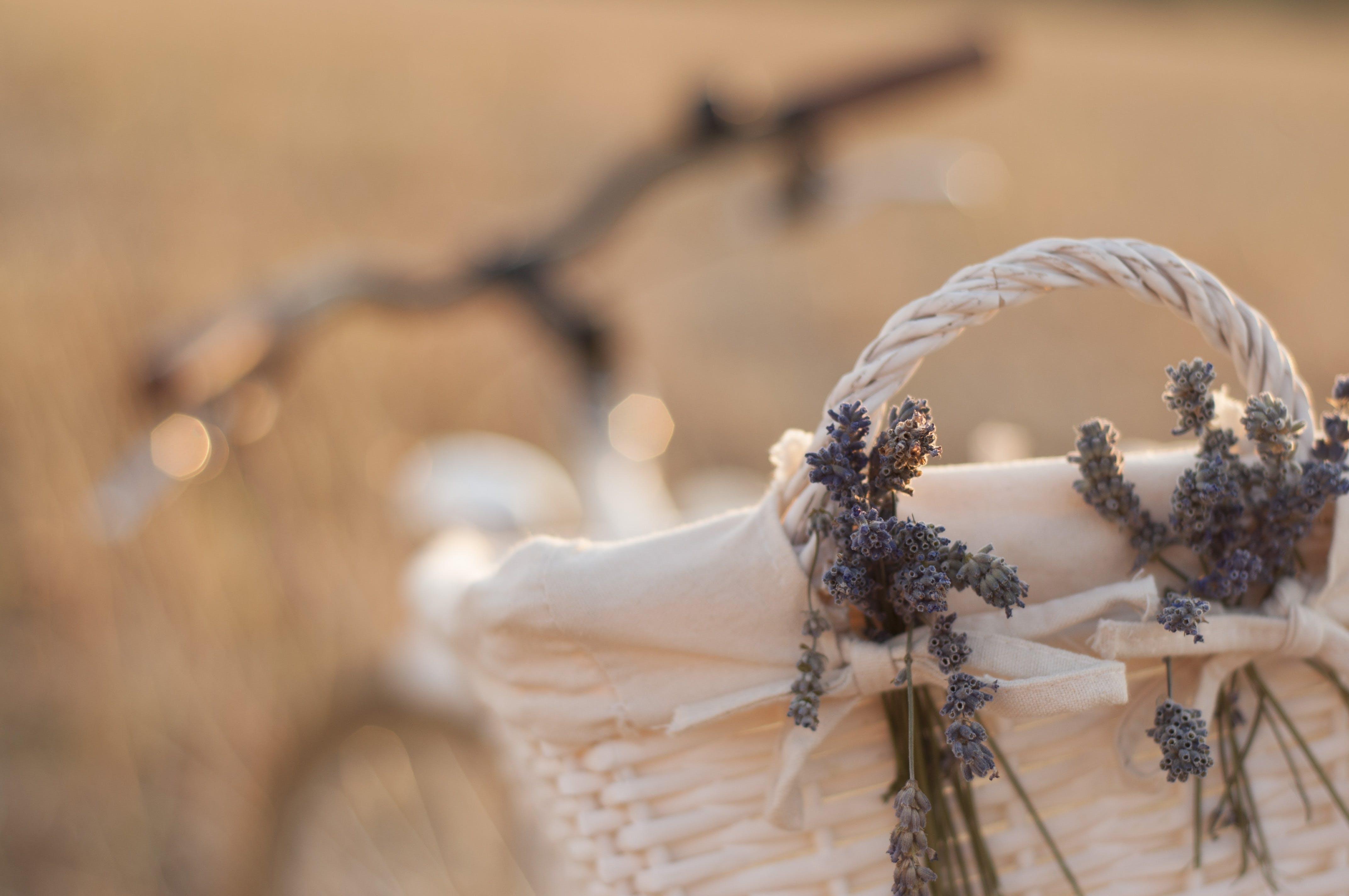 Beige Wicker Basket Near Bike