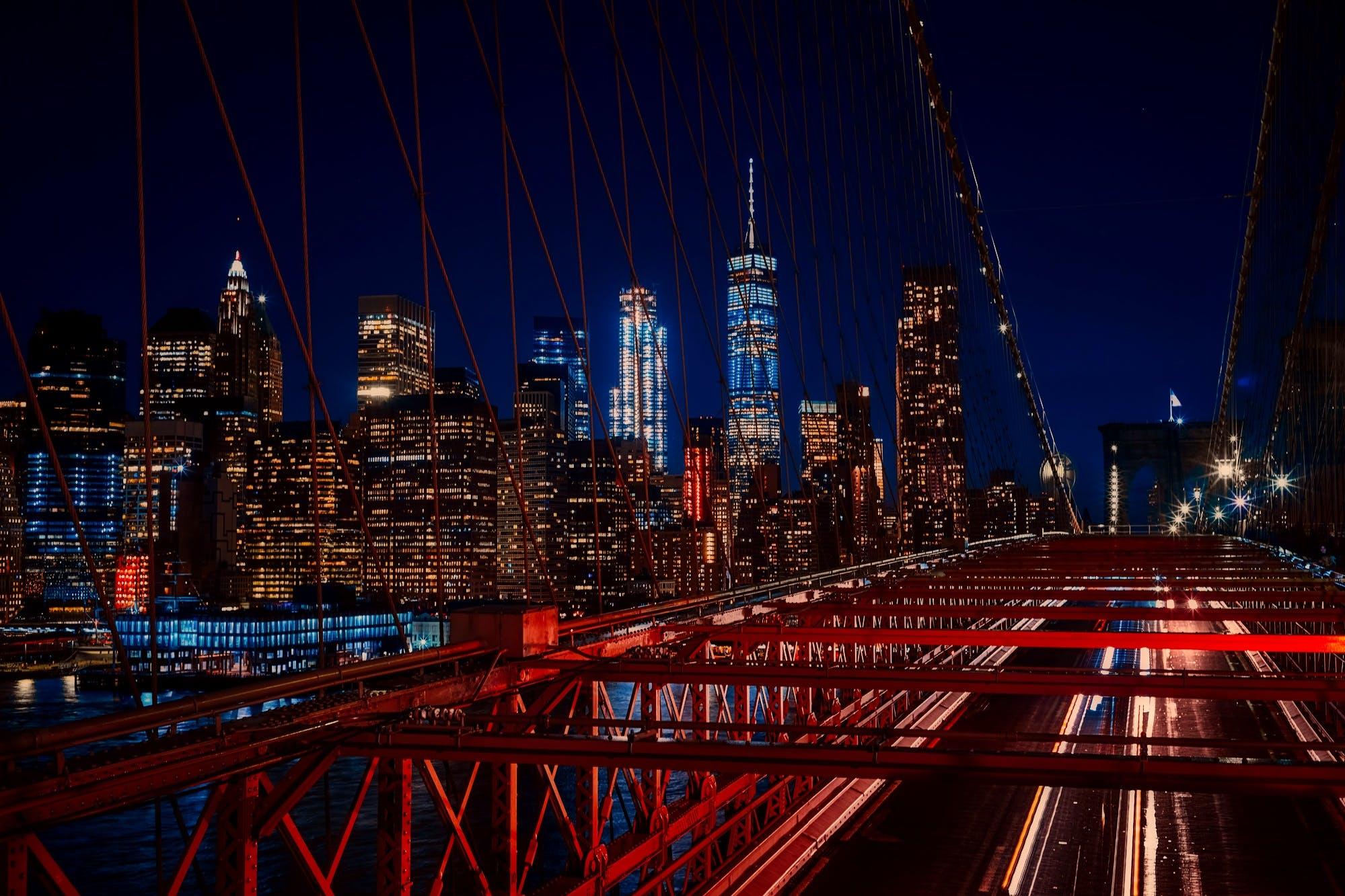 bridge, buildings, city lights