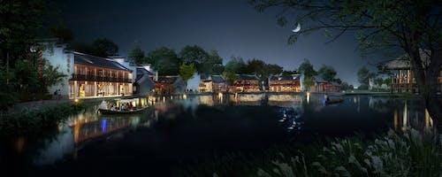 Gratis lagerfoto af aften, arkitektur, båd, bygninger