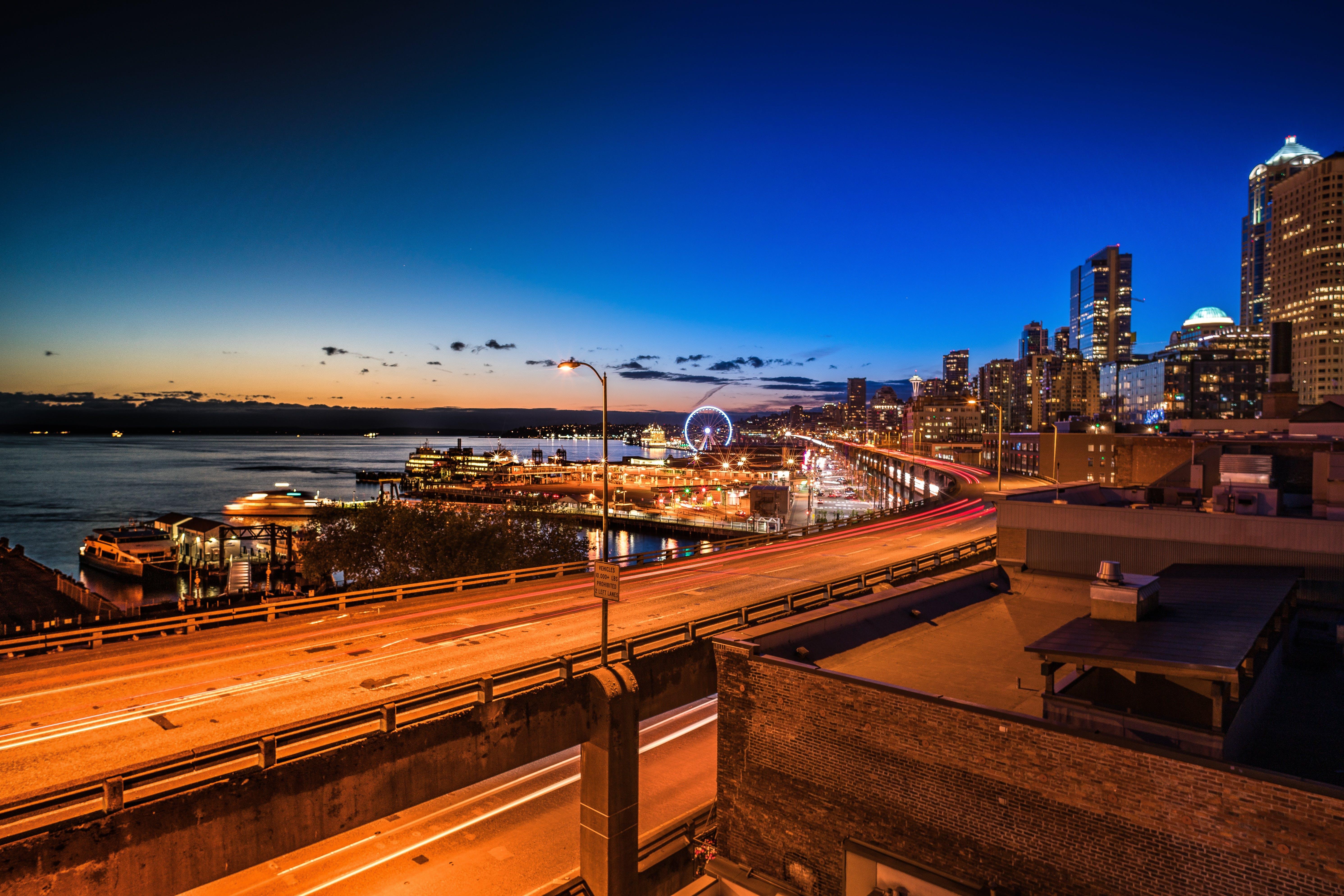 Illuminated City during Golden Hour