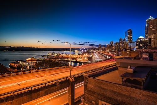 Gratis lagerfoto af aften, amerika, arkitektur, blå himmel
