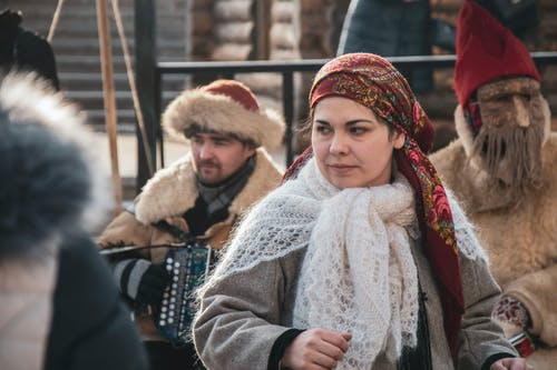 People Wearing Traditional Russian Clothing
