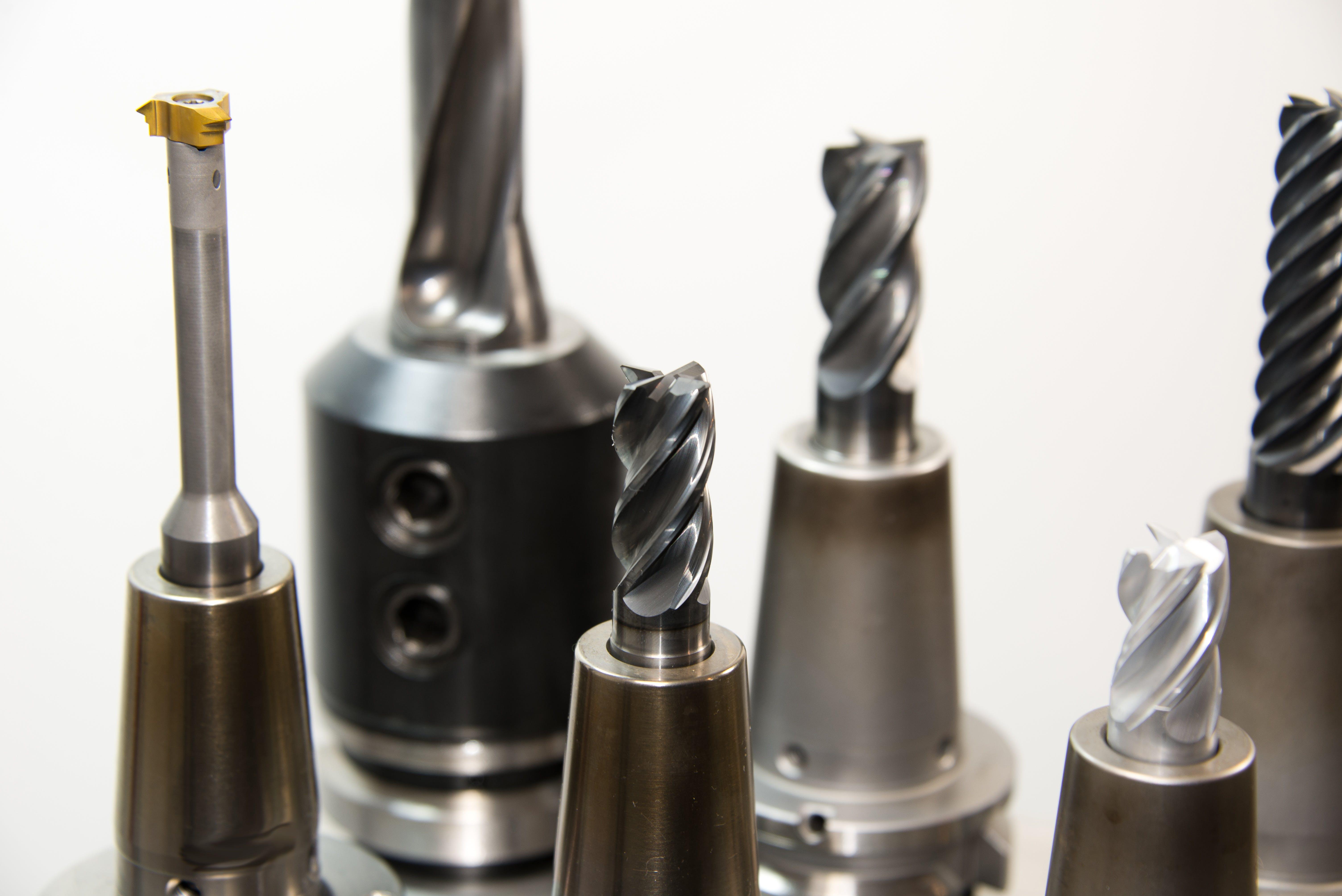 Six Gray Drill Bits
