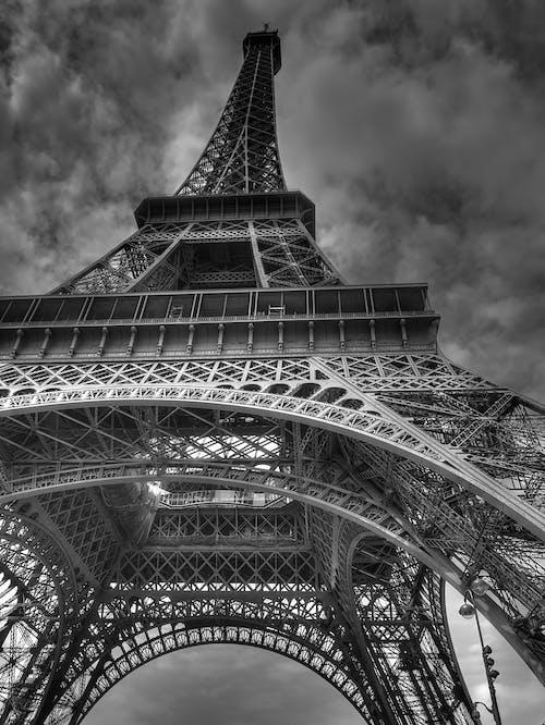 Základová fotografie zdarma na téma architektura, černobílý, eiffelovka, evropa