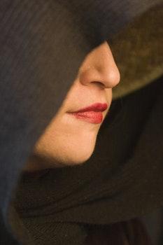 Free stock photo of woman, lips, hood, lipstick