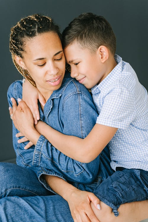 Child Hugging Mother from Behind
