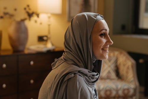 Woman in Gray Hijab Smiling