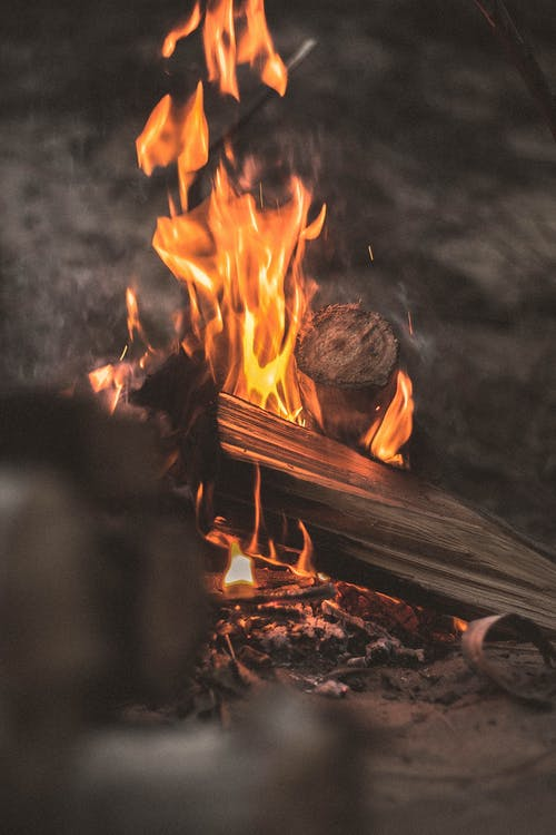 Burning Firewood In Close-up Photography
