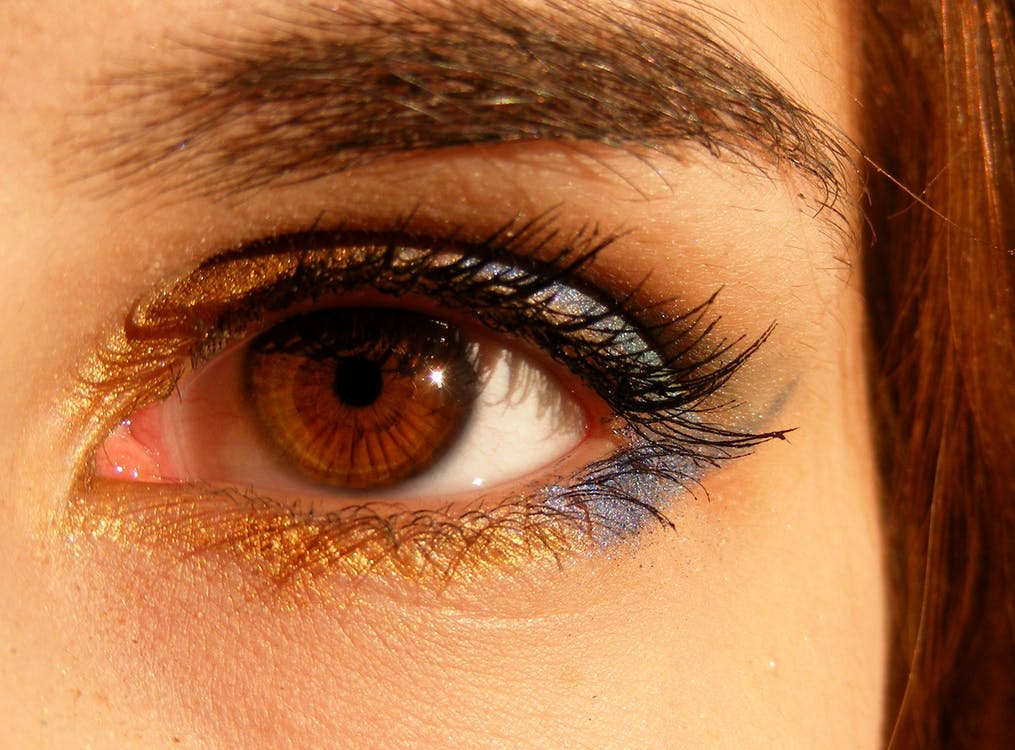 flicka, närbild, öga