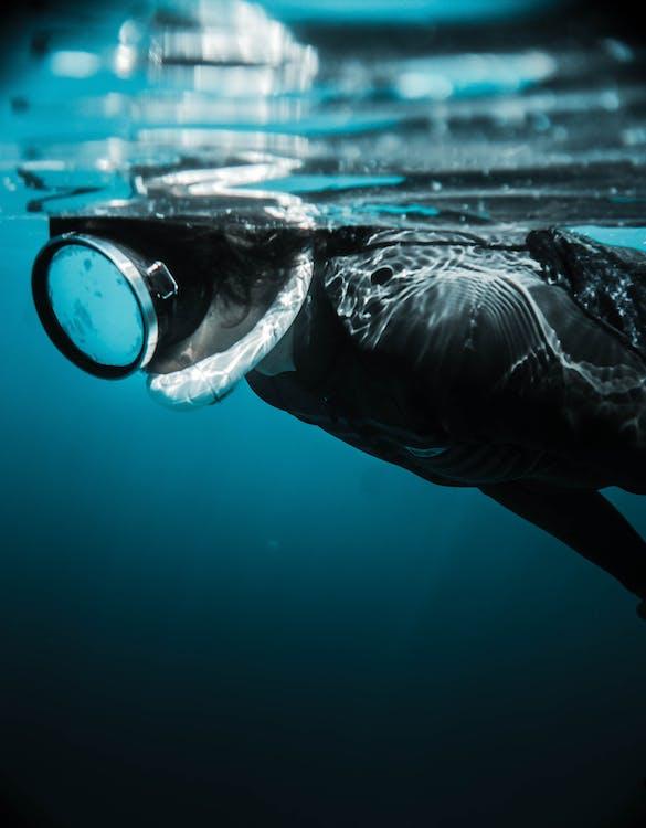 Người ẩn Danh đeo Mặt Nạ Lặn Bơi Dưới Nước Vào Ban Ngày