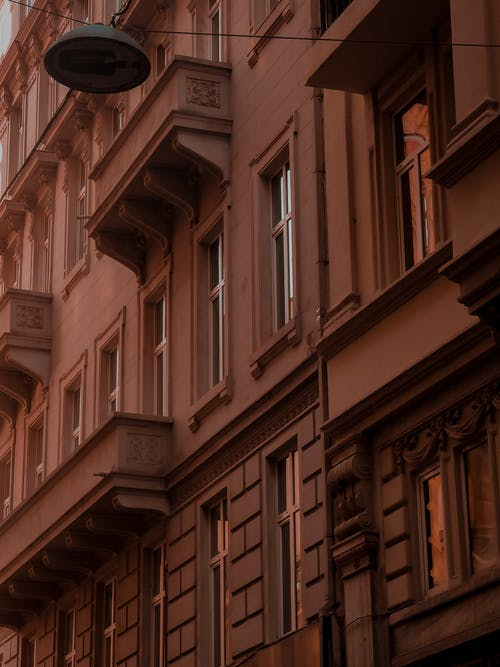 Details of exterior of residential building at sundown