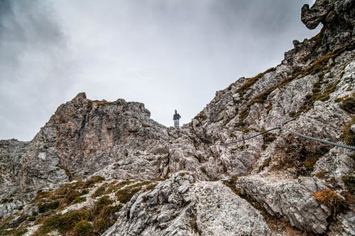 Person Standing on Rocky Mountain