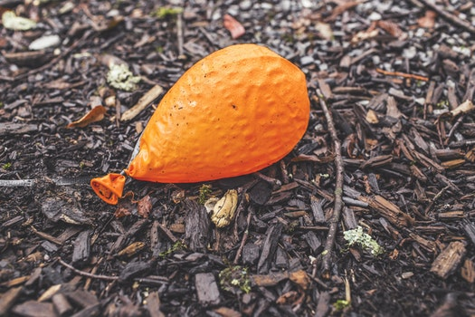 Free stock photo of ground, orange, balloon, deflated