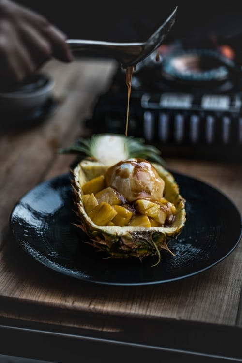 Photo Of Pineapple On Ceramic Plate