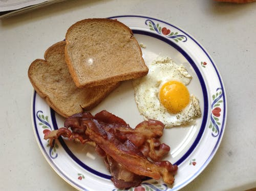 Free stock photo of bacon egg and toast