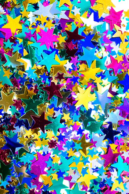 Pink Blue and Yellow Star Confetti