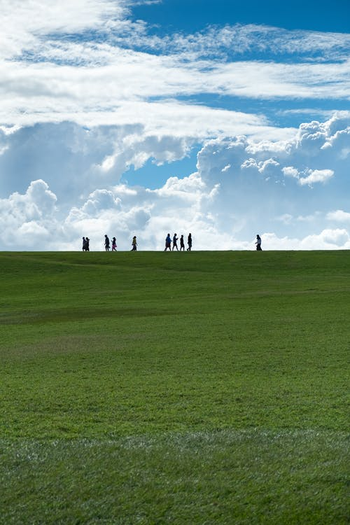 People Standing on Green Grass Field Under White Clouds and Blue Sky