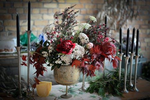 Various decorations for banquet in florist workshop