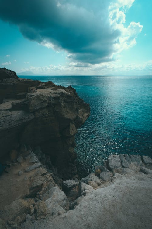 Photo of Cliff Edge Under Cloudy Sky