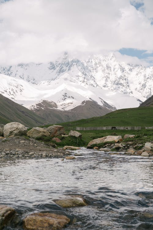 Photo of River Against Snow Mountain Background