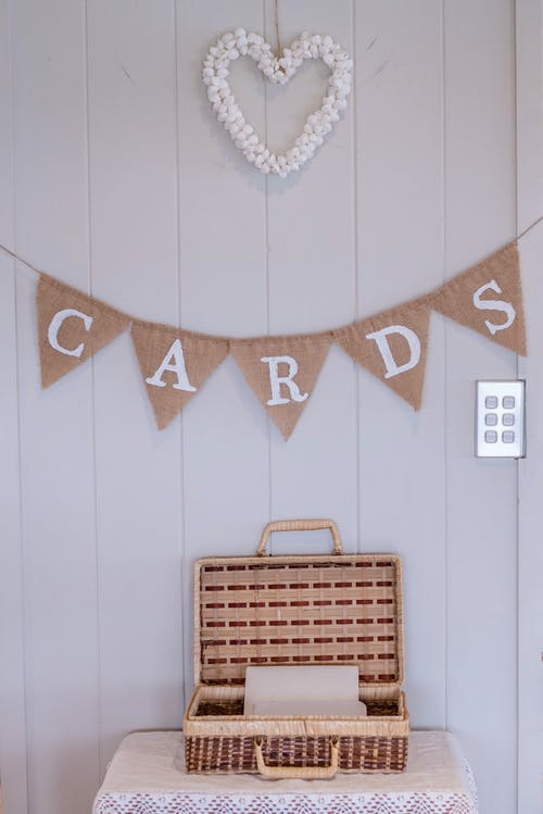 Wooden box with greeting cards for celebration