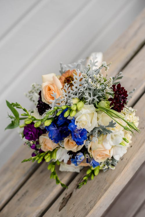 Bright blossoming flower bouquet on wedding day
