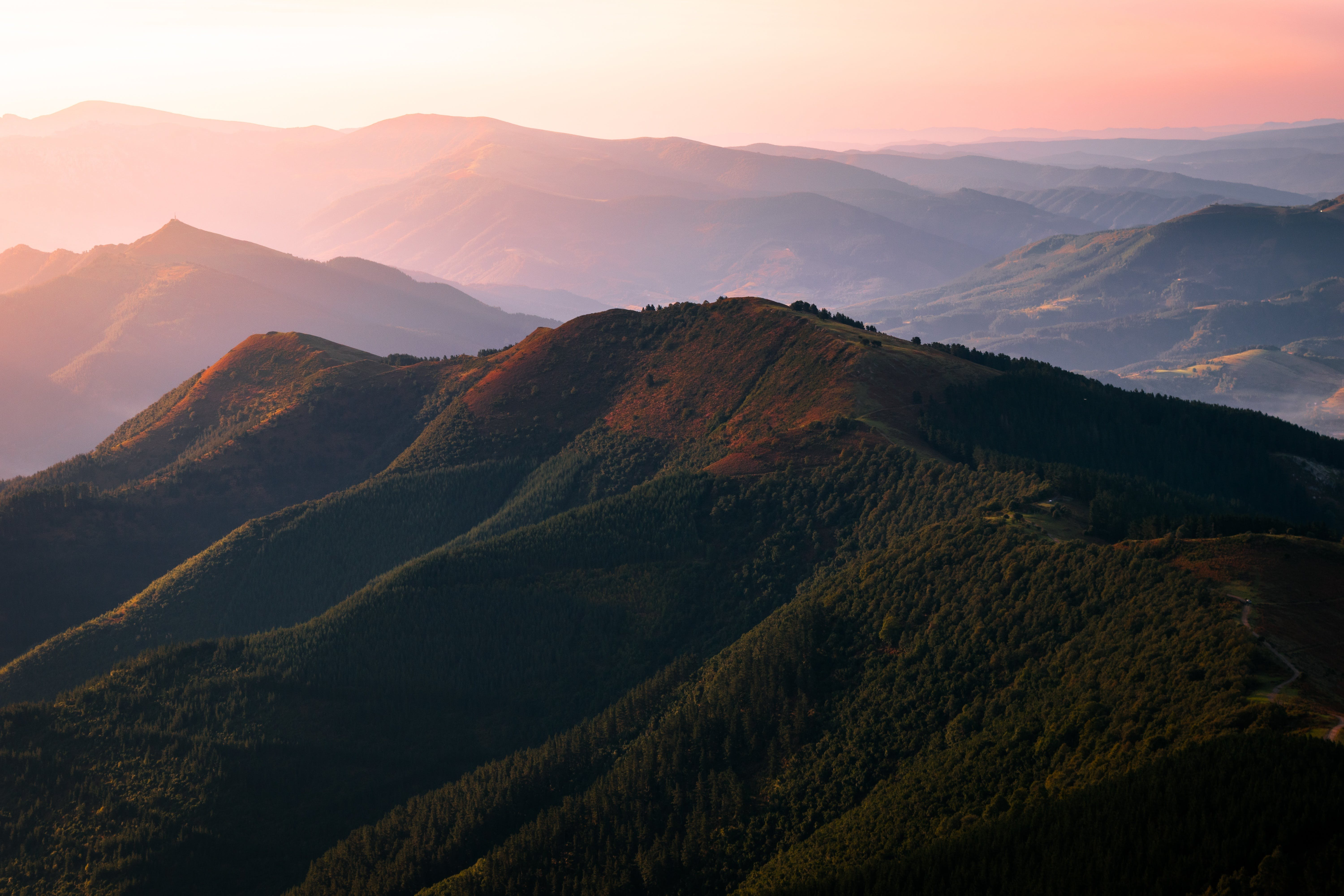 Arial Photography of Green Mountain during Sunset