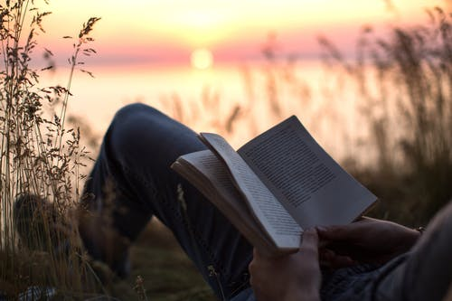 Person in Black Pants Reading Book during Sunset