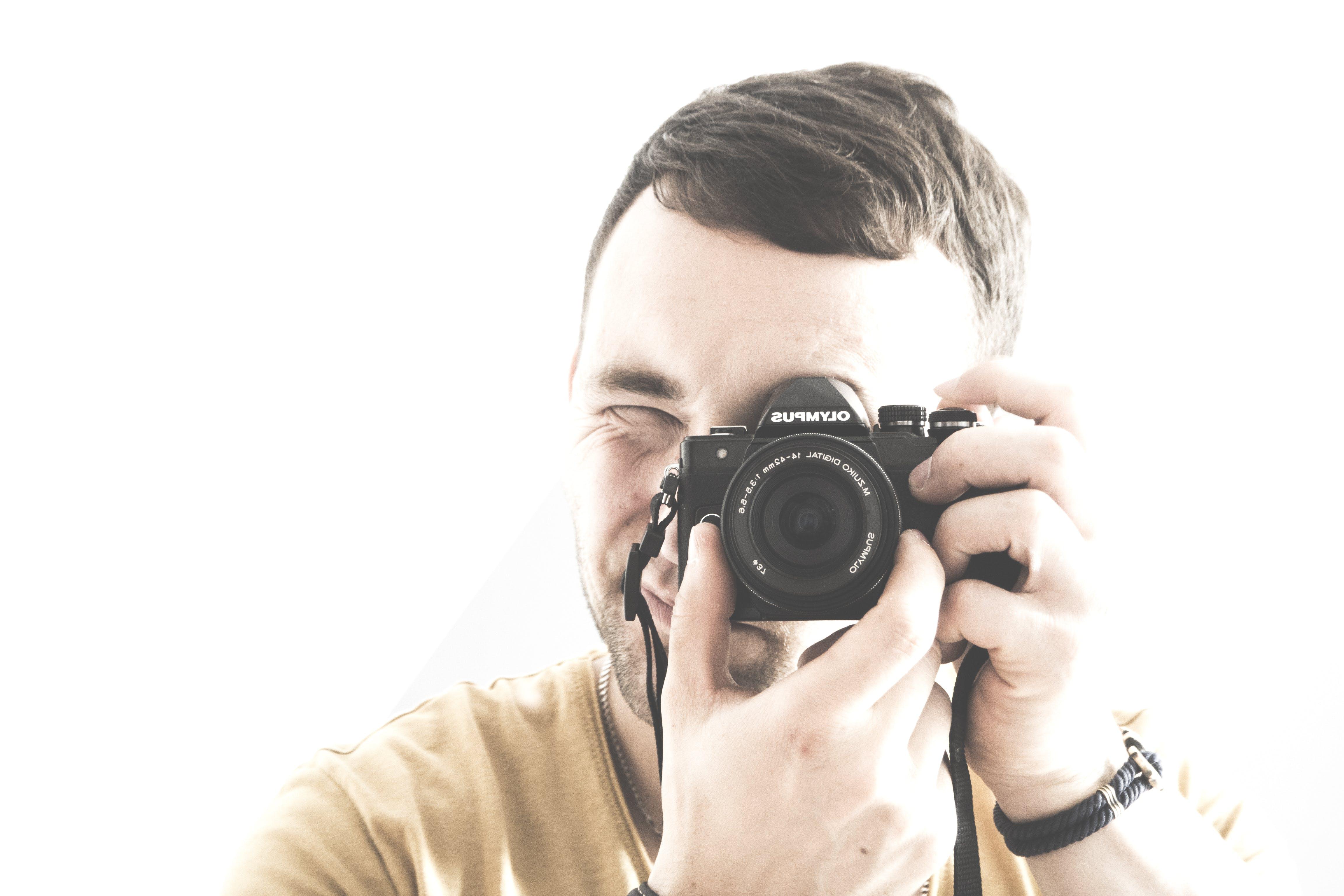 adult, camera, hands
