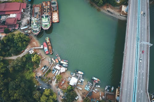 Aerial View of City Buildings Near Body of Water