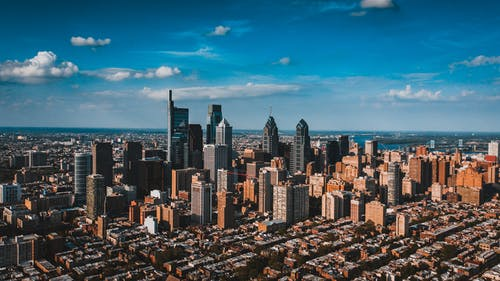 Drone view of residential area located near business district in Philadelphia city in USA