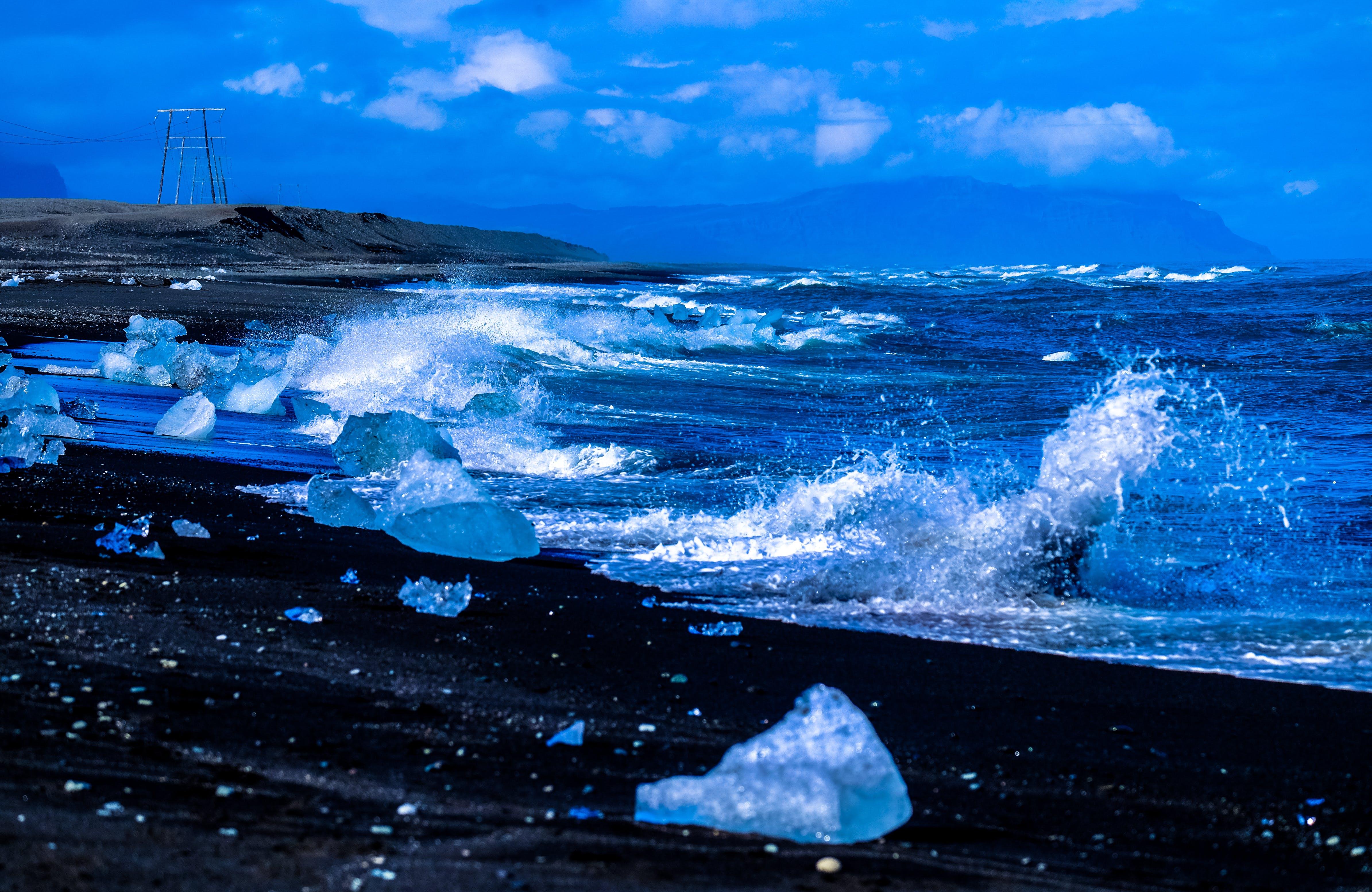 Ice Shards Near Body of Water