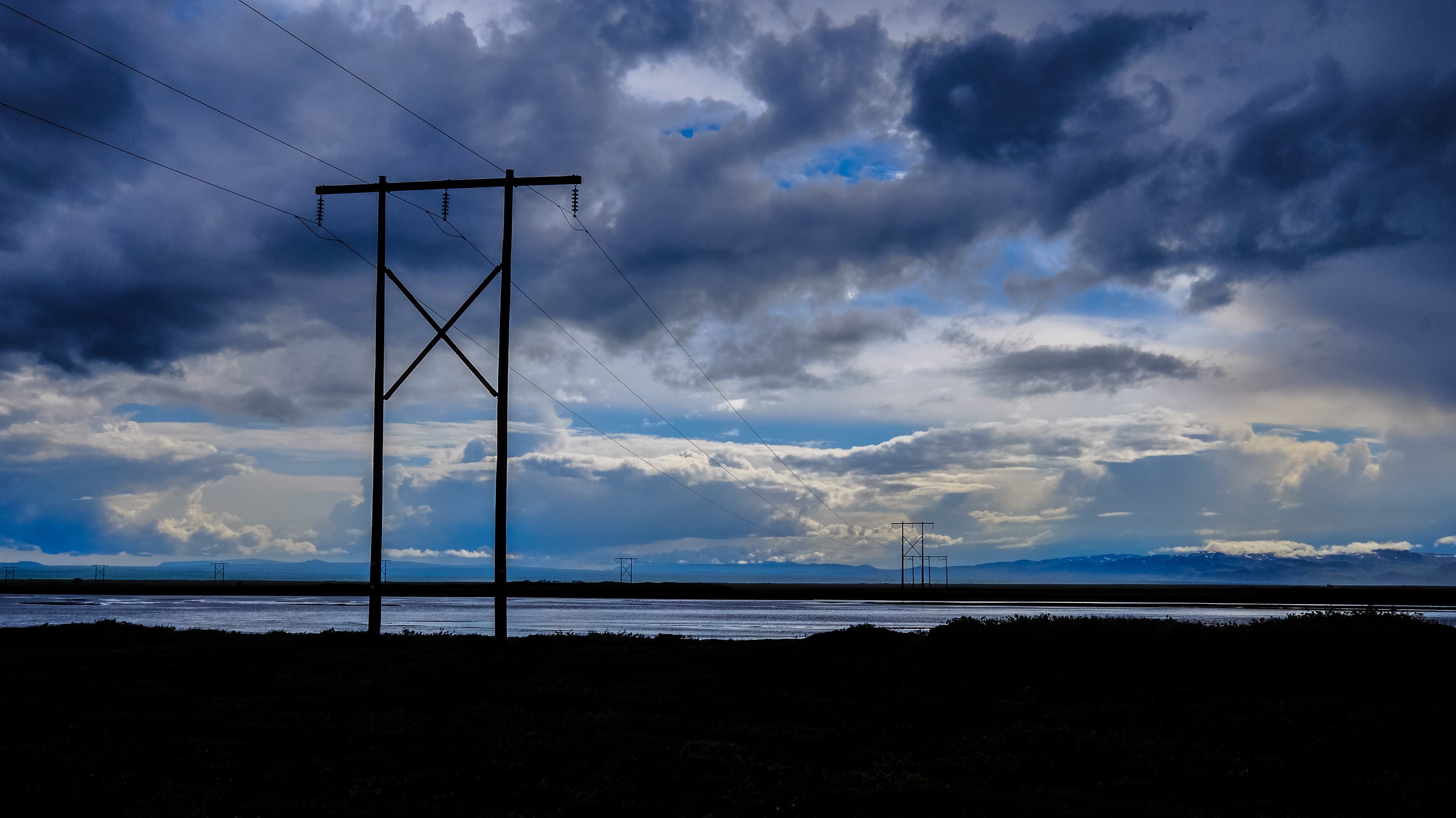 backlit, clouds, electric posts