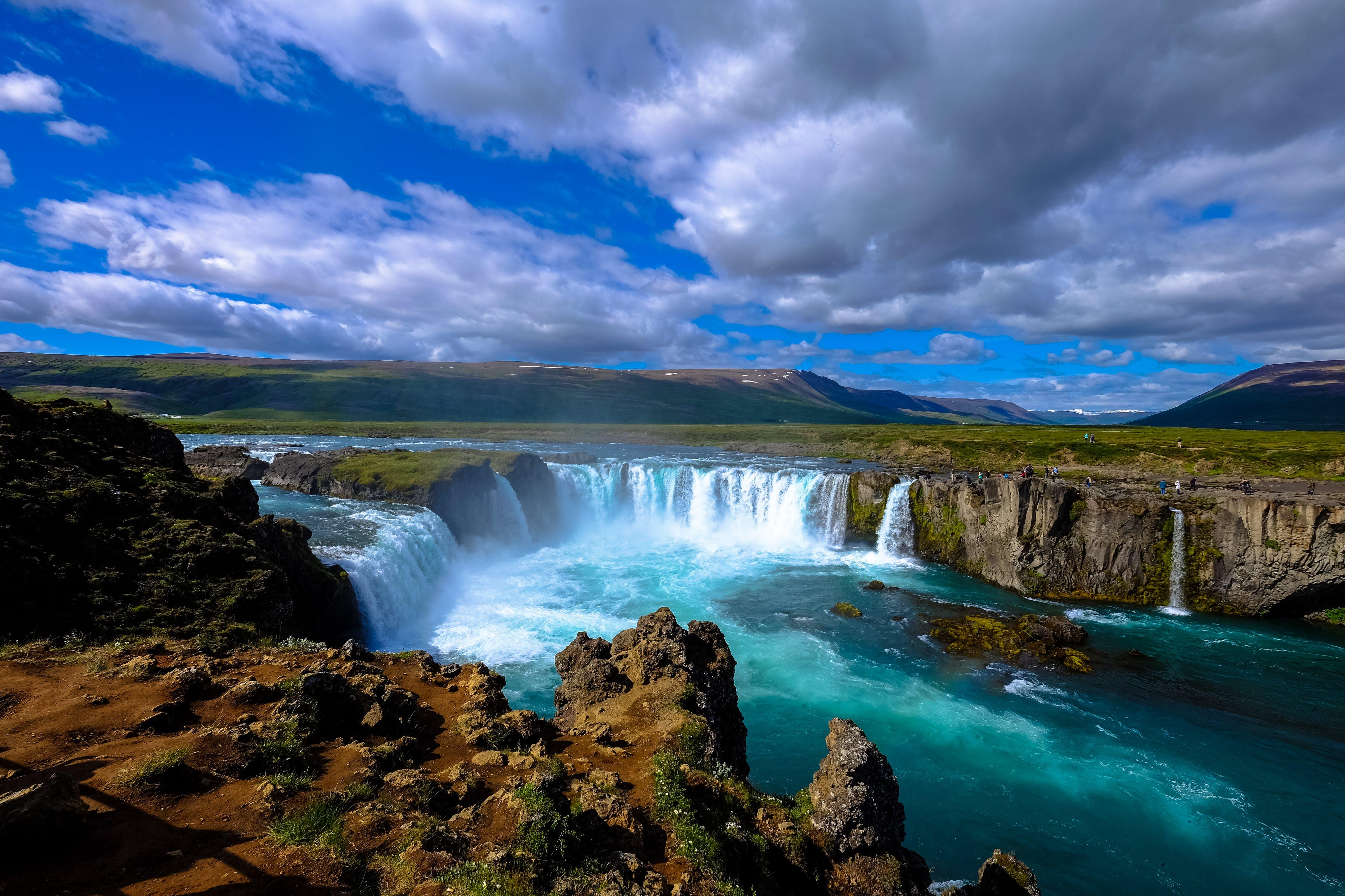 calm, cascade, cliff