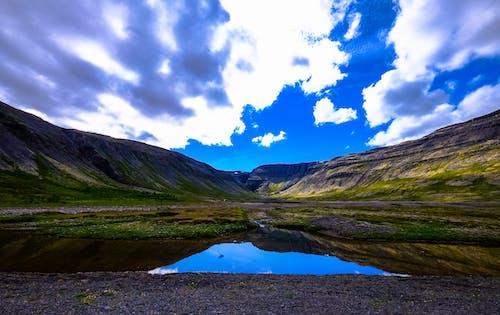 反射, 山岳, 岩, 日光の無料の写真素材