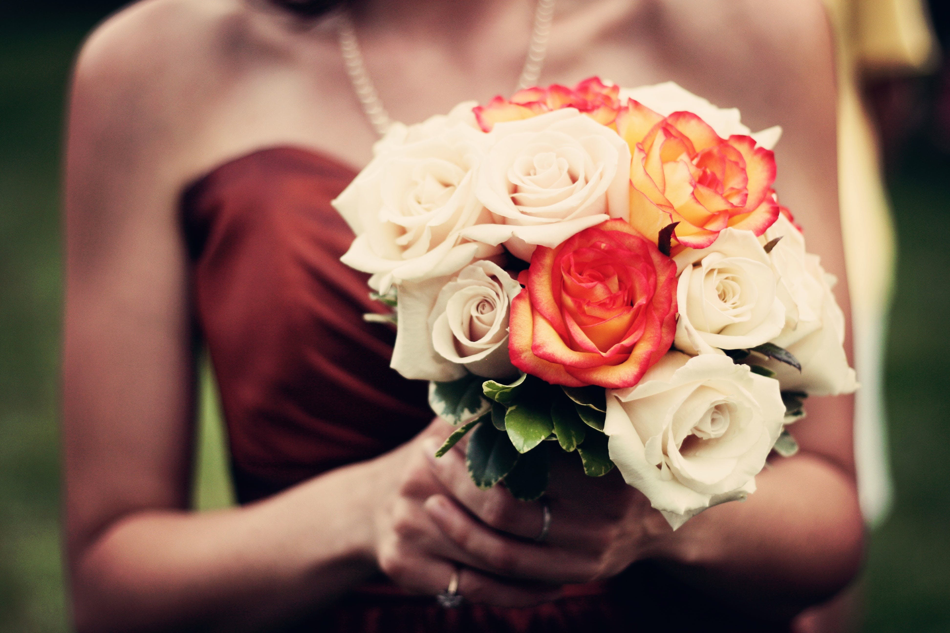 Free stock photo of woman, dress, bouquet, roses