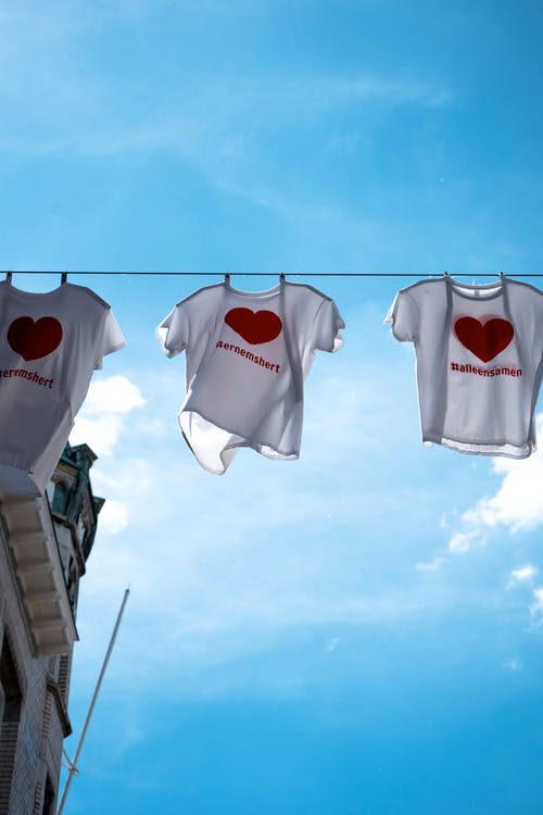 T-Shirts Drying on Clothesline