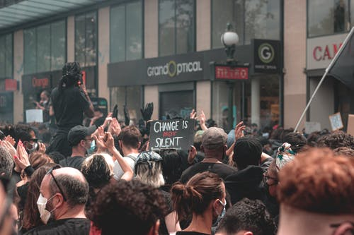 Group of people protesting against police brutality