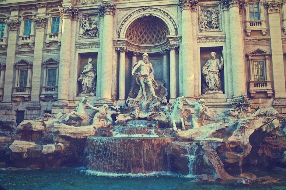 figures, fountain, historical