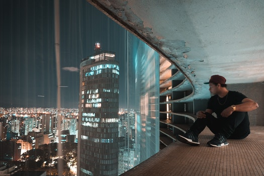 Free stock photo of city, man, night, buildings