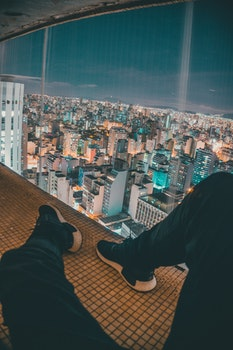 Free stock photo of city, landscape, person, lights
