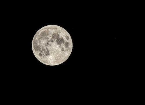 Luminous full moon on dark sky