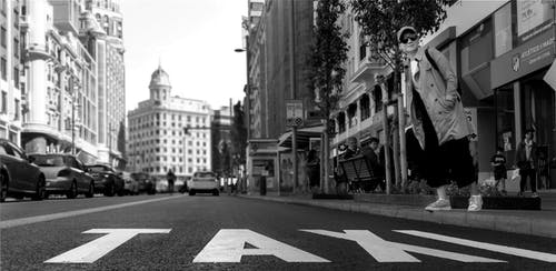 Free stock photo of black and white city, city street, taxi