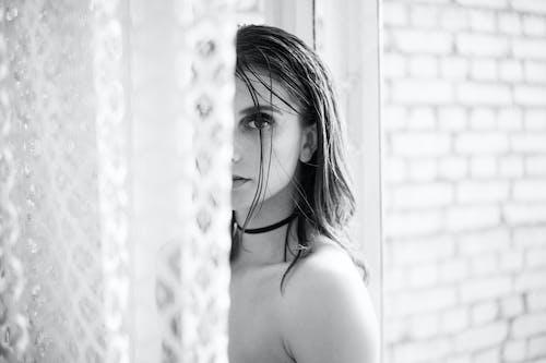 Monochrome Photo of Topless Woman
