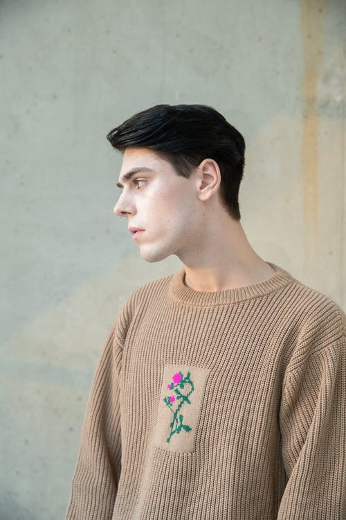 Man in Brown Knit Sweater