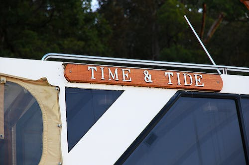 Free stock photo of boat, name, time and tide, window