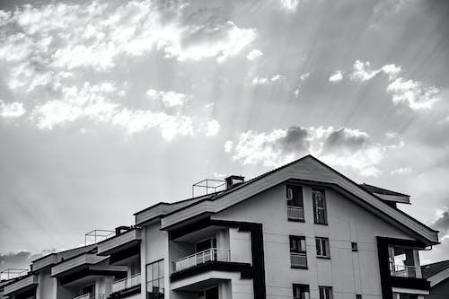 Základová fotografie zdarma na téma apartmány, černobílá