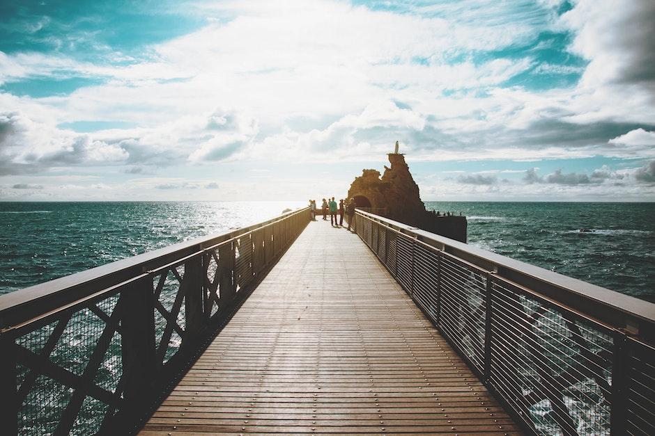 beach, bridge, clouds